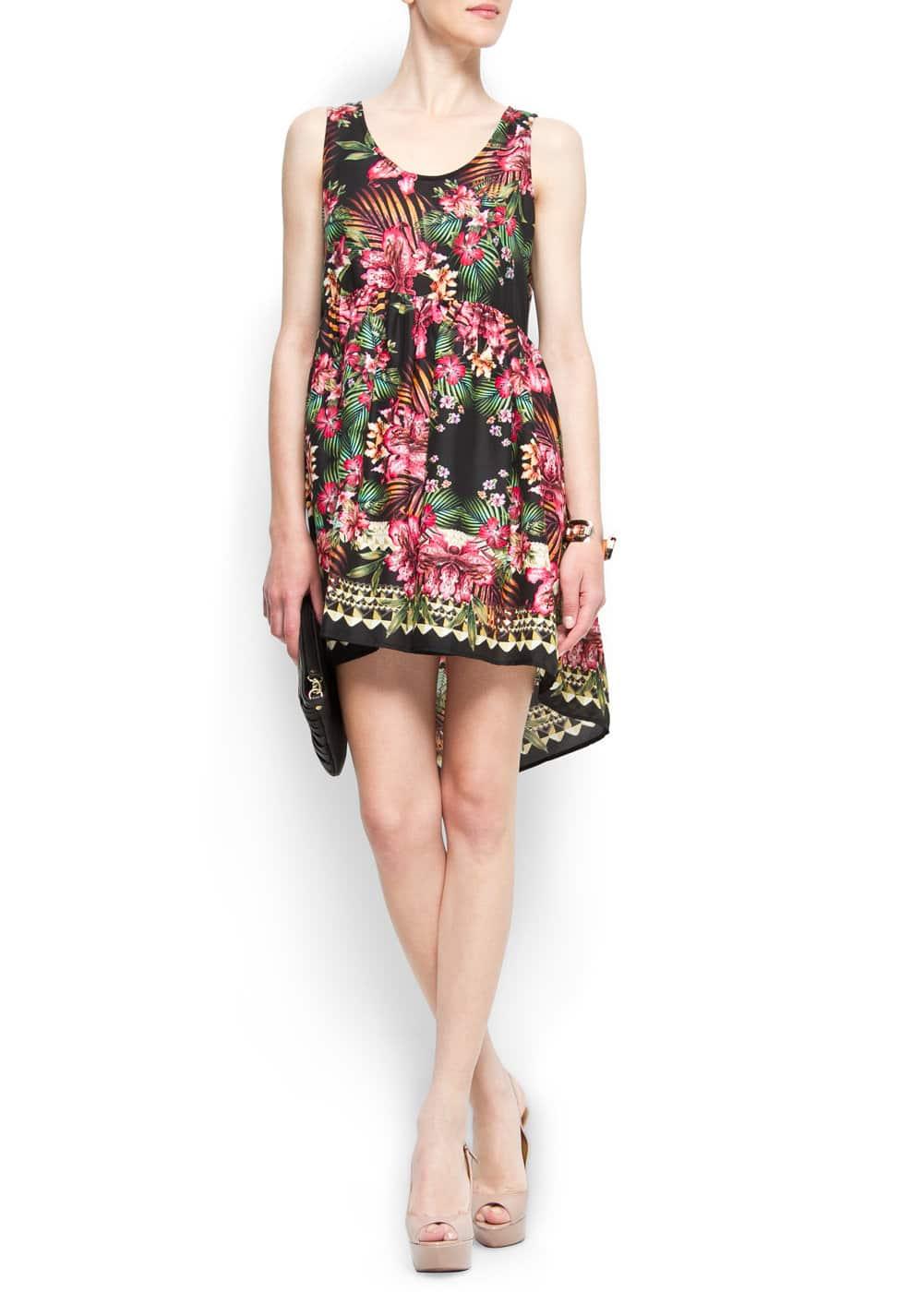 Tail hem tropical dress | MANGO