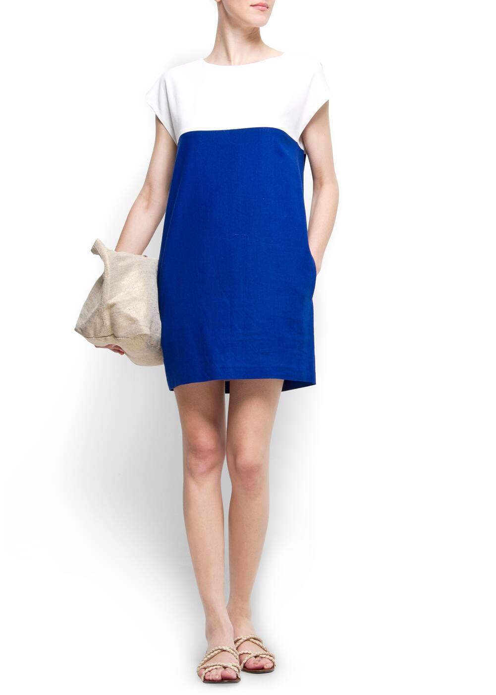 Straight-cut two toned dress | MANGO