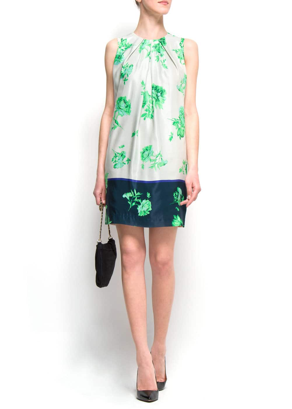 Contrast straight-cut dress | MANGO
