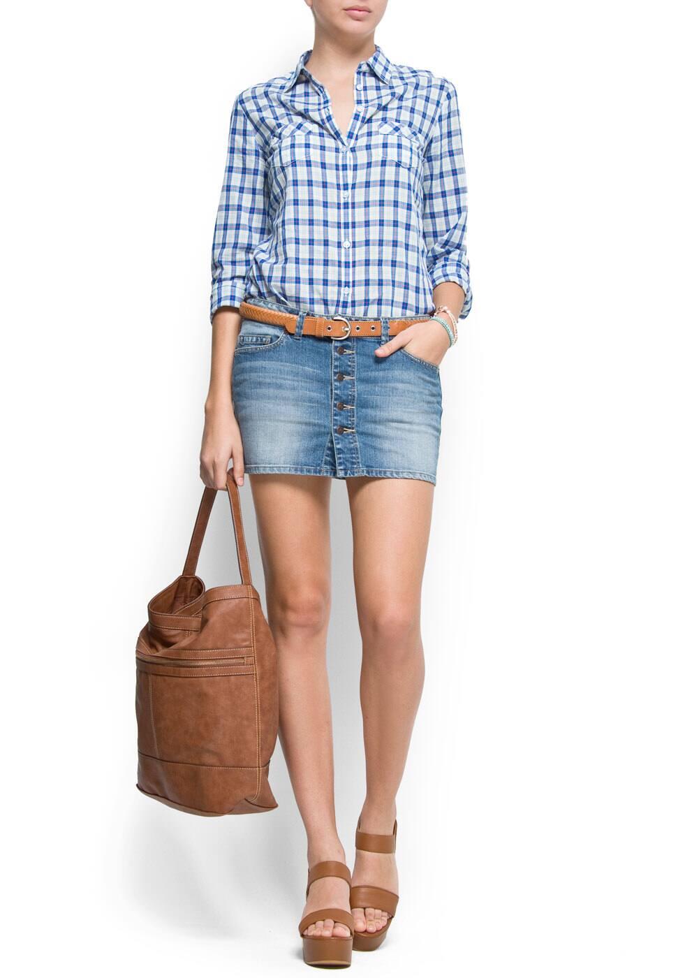 Button denim skirt | MANGO