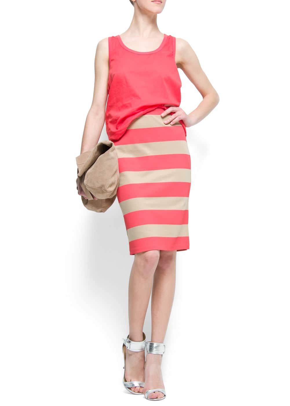 Striped pencil skirt   MANGO