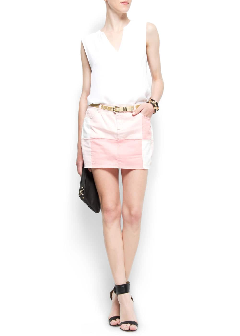 Patchwork mini skirt | MANGO