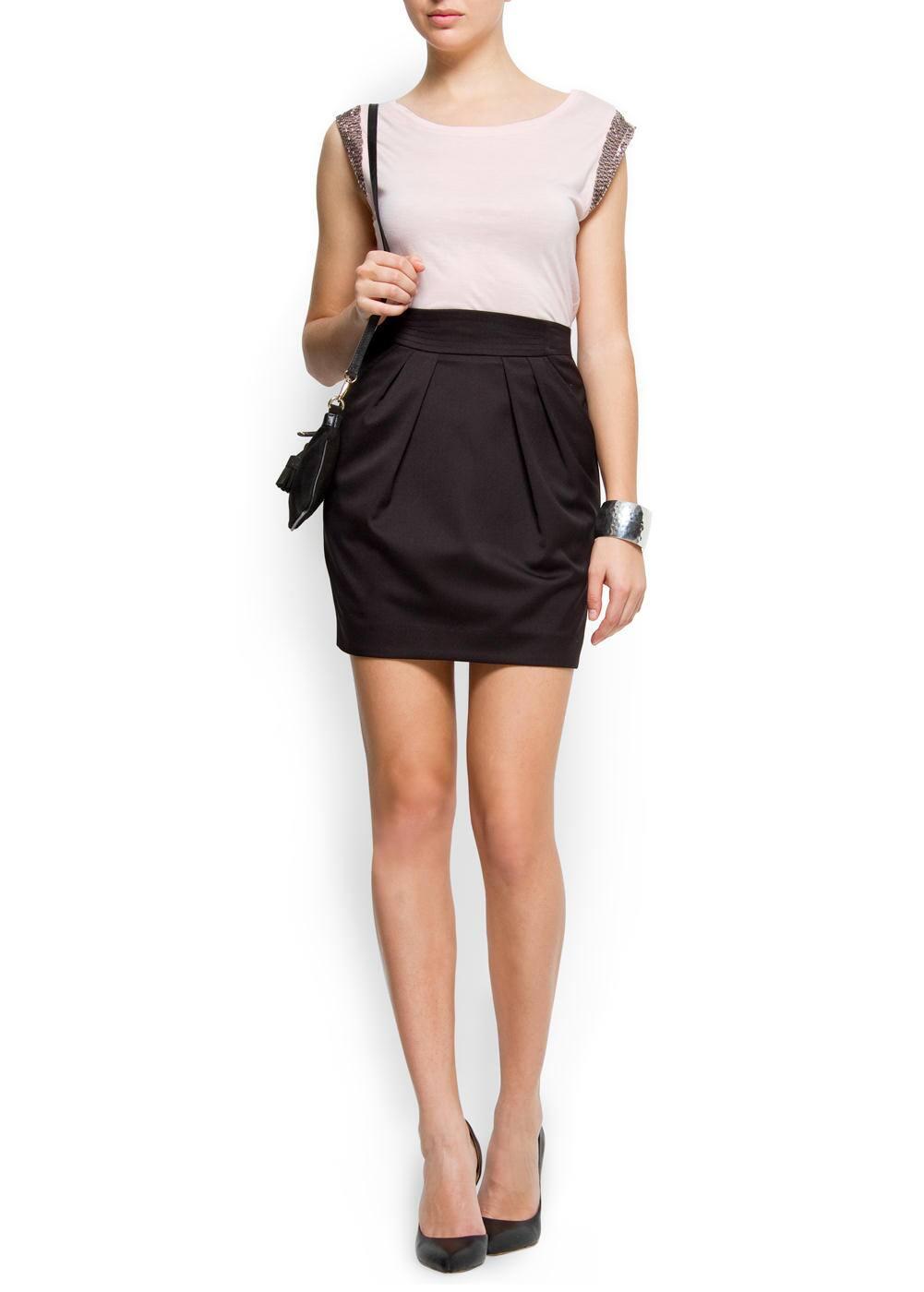 Plaint-front mini skirt | MANGO