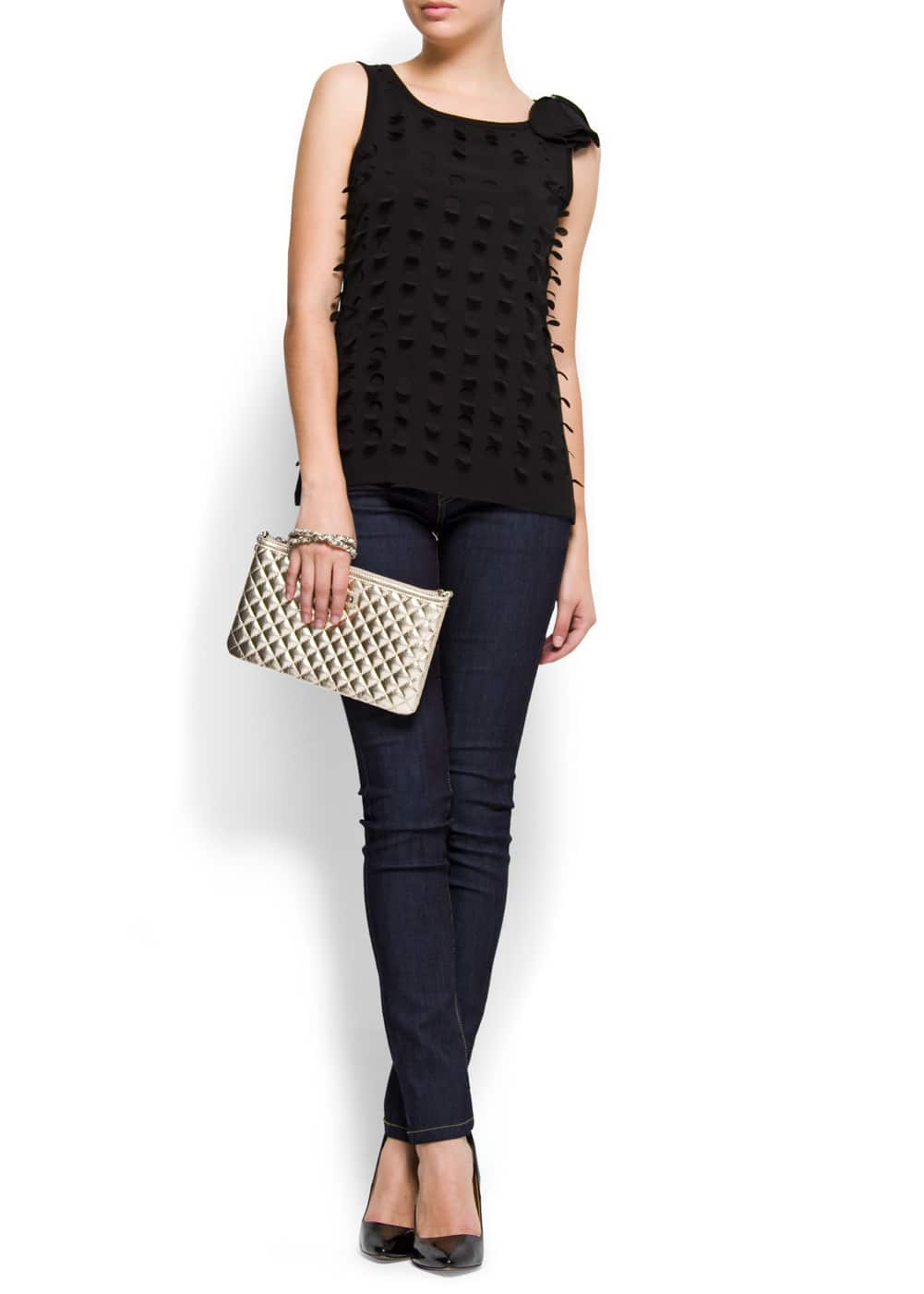 Sleeveless polka dot t-shirt | MANGO