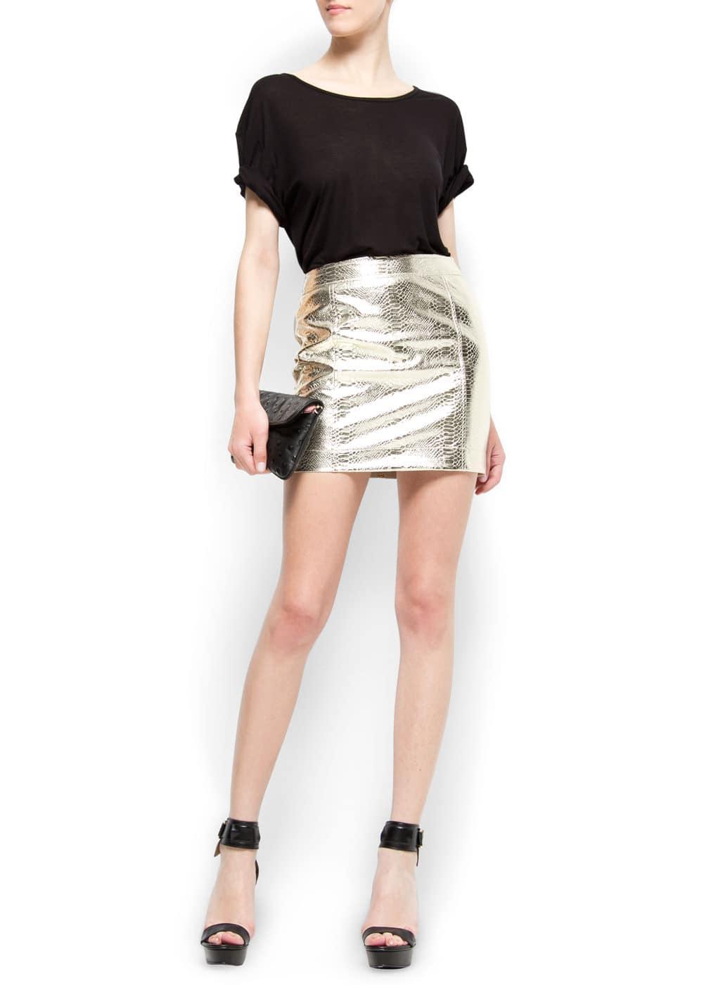 Snake effect mini skirt | MANGO