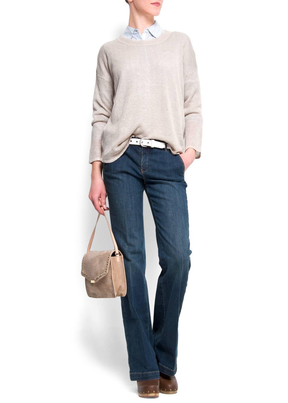 Leather messenger handbag | MANGO