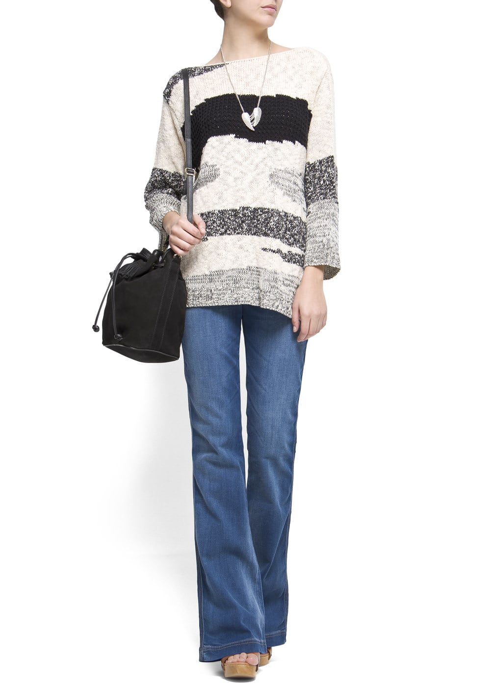 Striped openwork jumper | MANGO