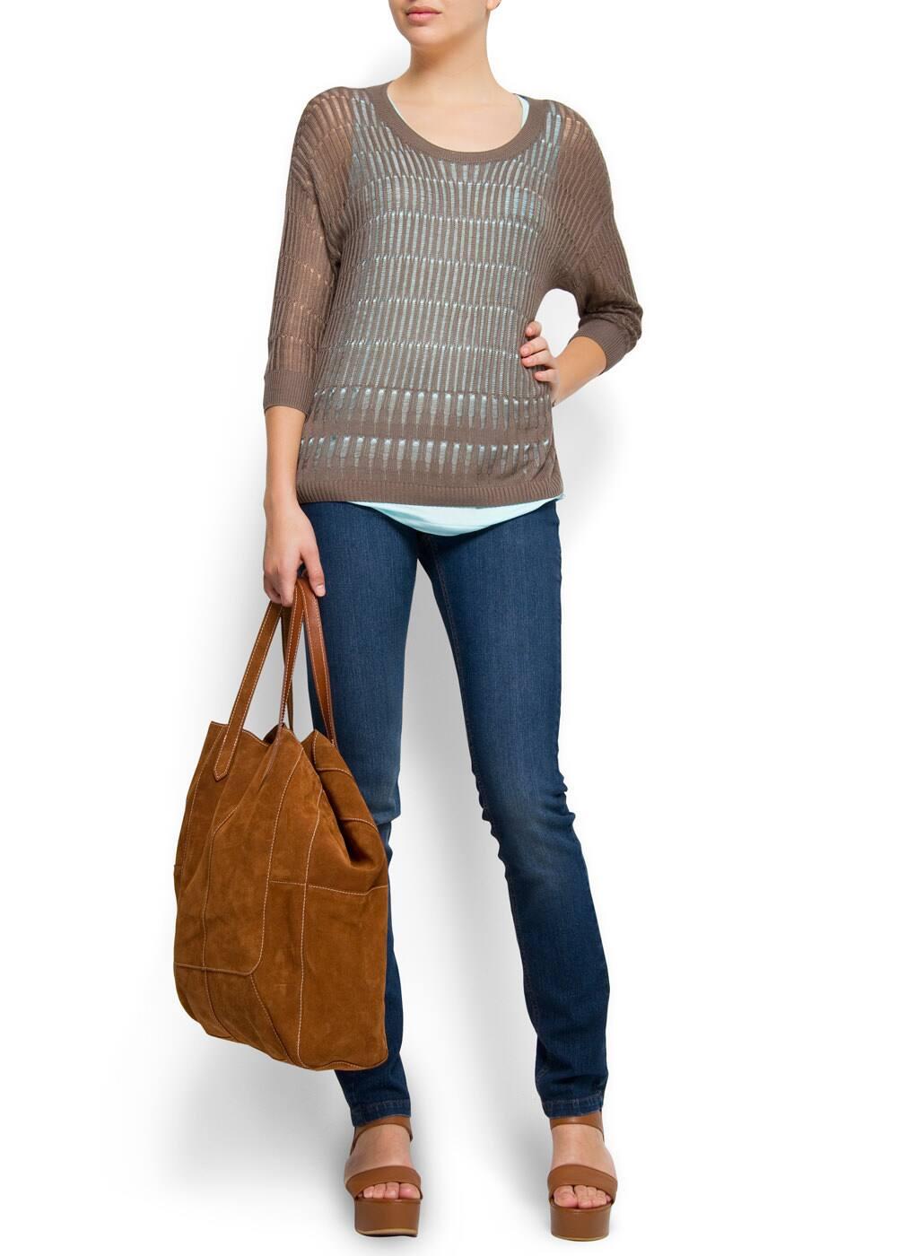 Leather singleback platform sandal | MANGO