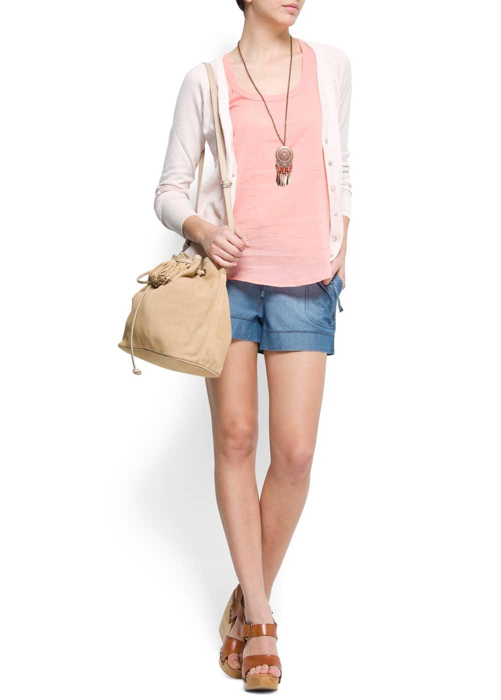 Sleeveless cotton t-shirt | MANGO