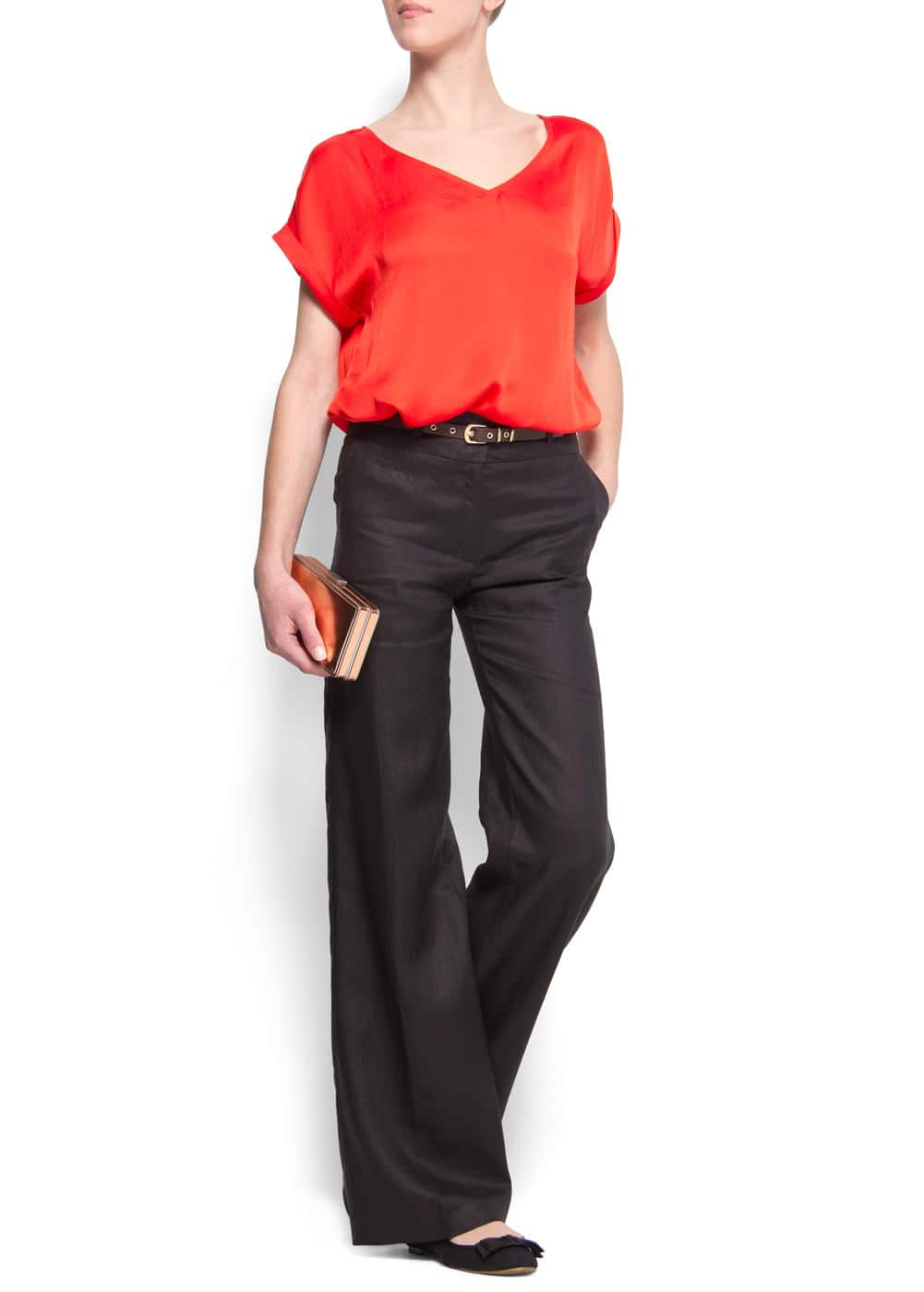 Wide-leg linen trousers | MANGO