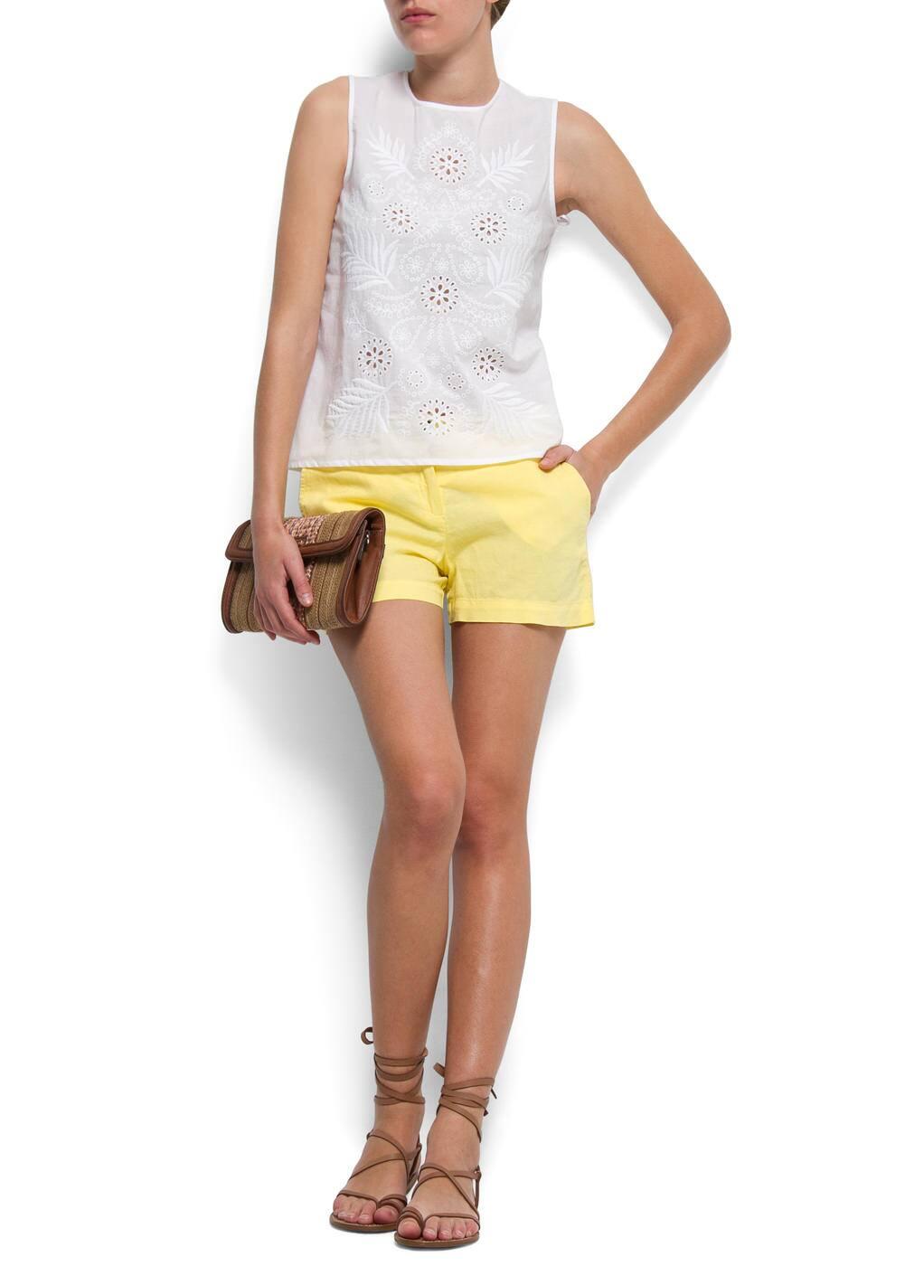 Cotton linen shorts | MANGO