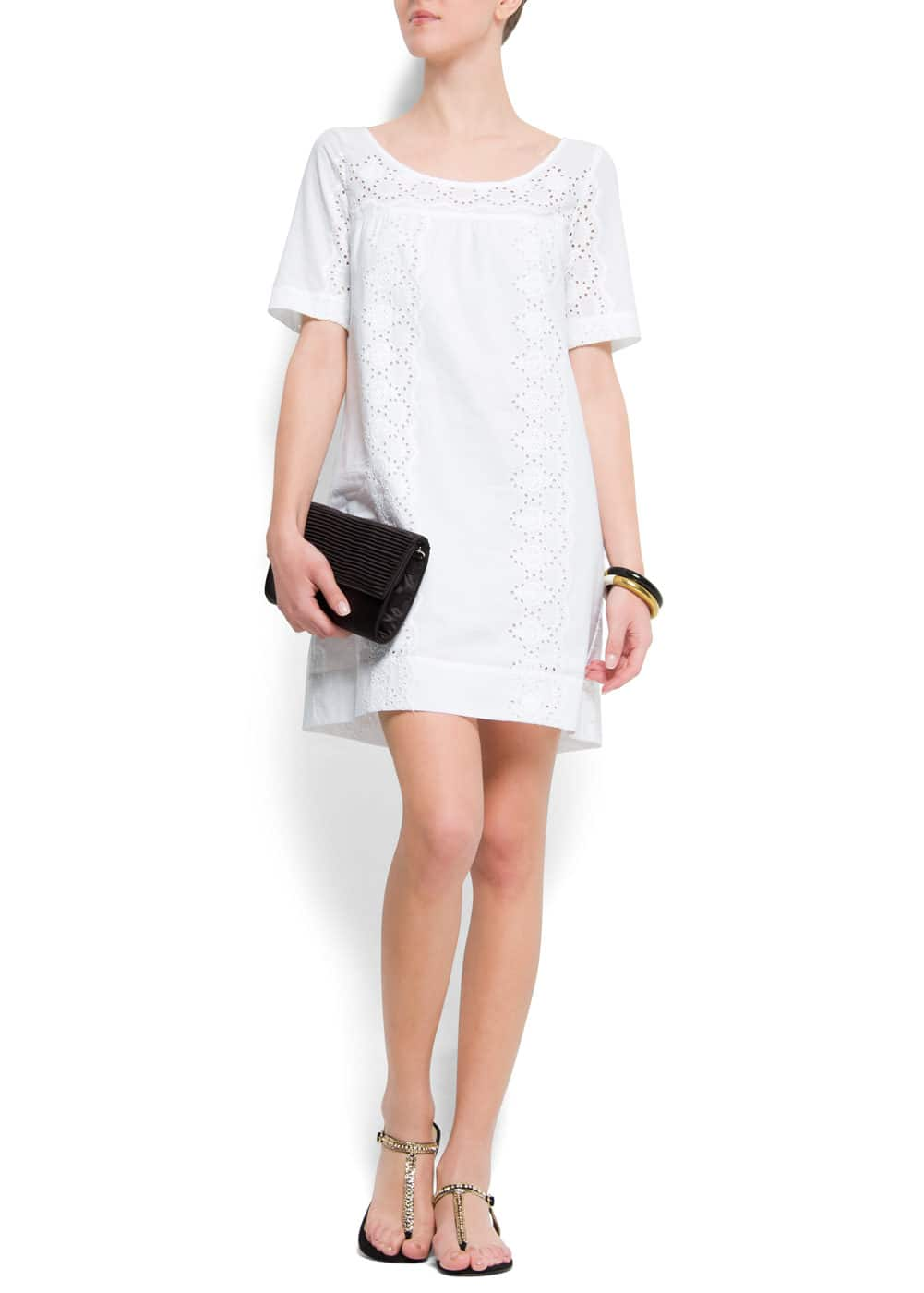 Cotton dress openwork embroidery | MANGO