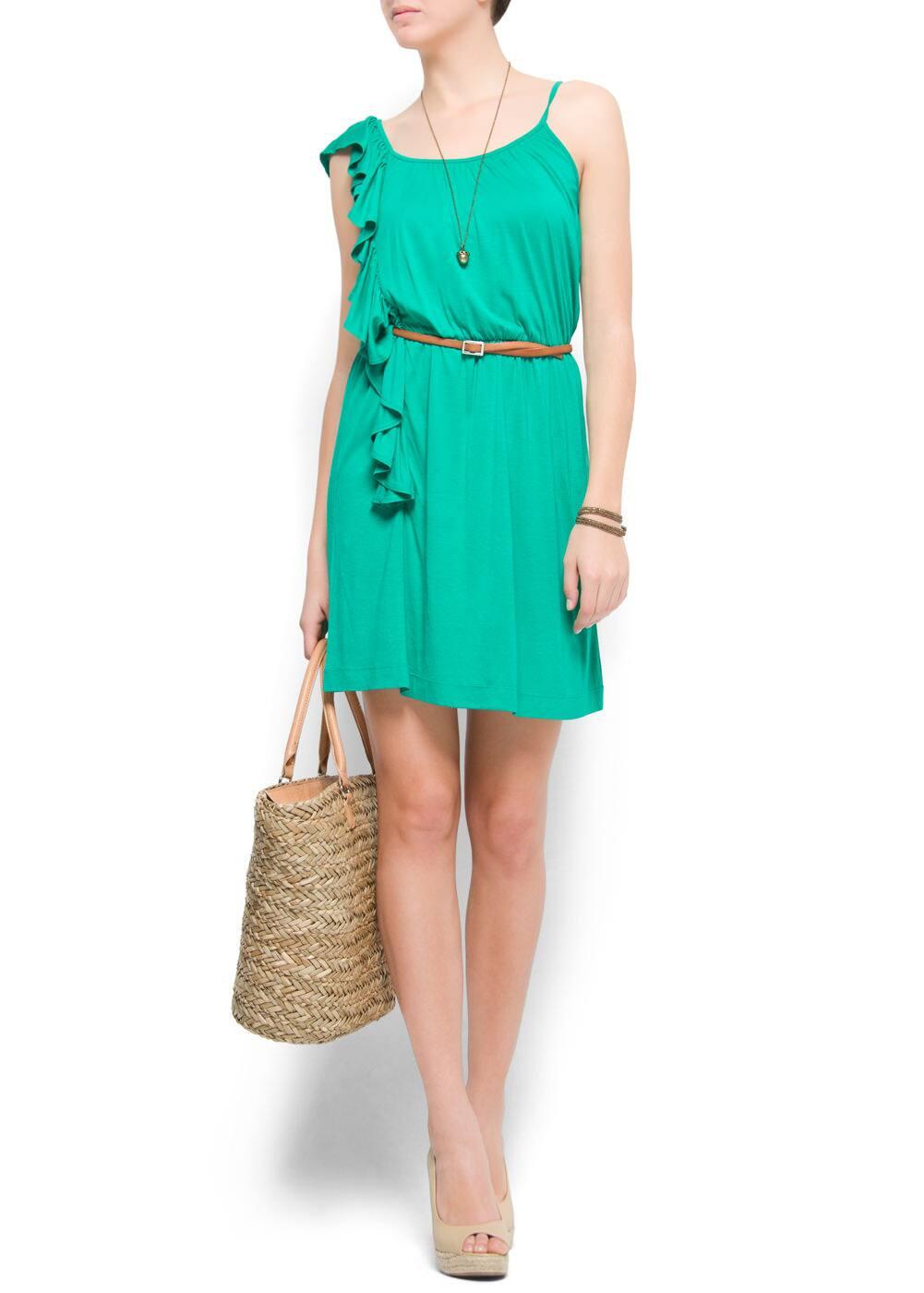 Asymmetric ruffle dress | MANGO
