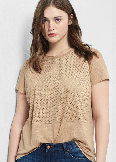 Mixed laser-cut t-shirt | VIOLETA BY MANGO