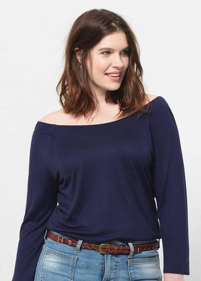 Off the shoulder t-shirt | VIOLETA BY MANGO
