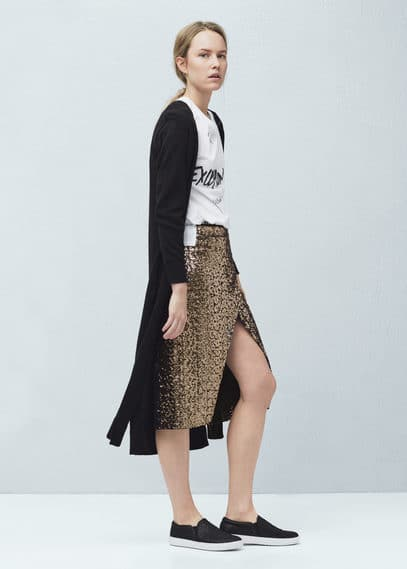 Sequin wrap skirt | MANGO