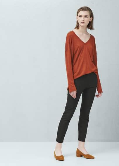 Pantalón algodón cremalleras | MANGO