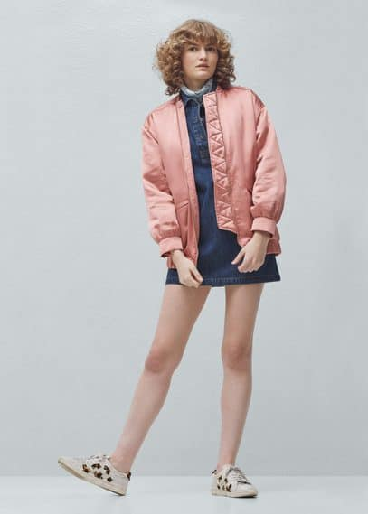 Satin bomber jacket | MANGO