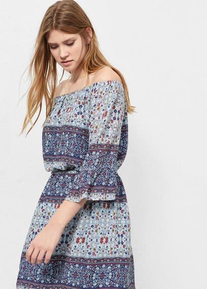 Vestido estampado combinado | VIOLETA BY MANGO