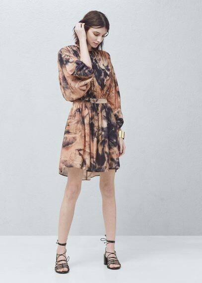 Vestido plissado estampado | MANGO