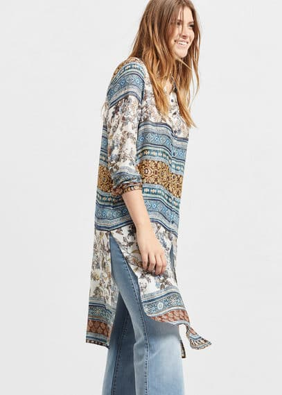 Mixed print blouse | VIOLETA BY MANGO
