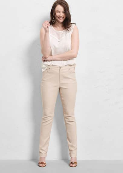 Cotton linen-blend trousers | VIOLETA BY MANGO