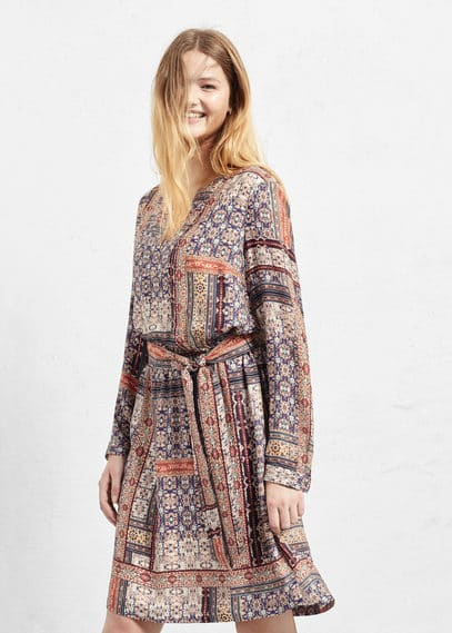 Scarf-print long dress | VIOLETA BY MANGO