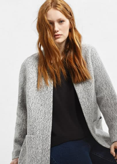 Flecked cotton-blend jacket | VIOLETA BY MANGO