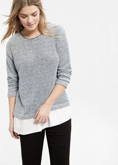 Sweat-shirt en coton texturé | VIOLETA BY MANGO