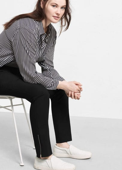 Zip cotton trousers | VIOLETA BY MANGO