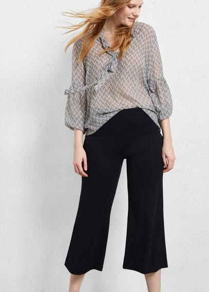 Cropped palazzo trousers | VIOLETA BY MANGO