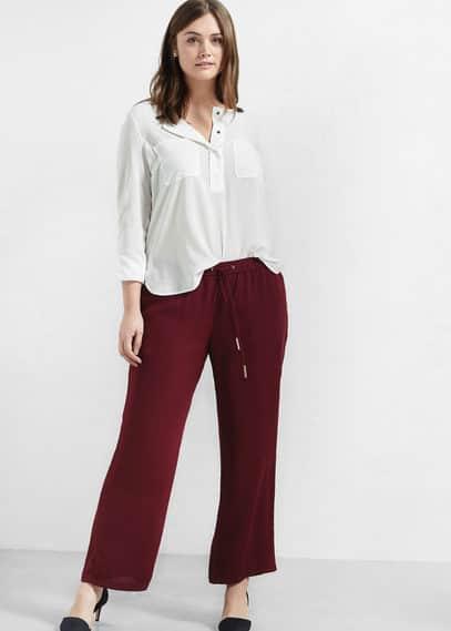 Düz kesim dökümlü pantolon | VIOLETA BY MANGO