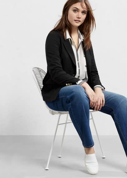 Structured cotton blazer | VIOLETA BY MANGO