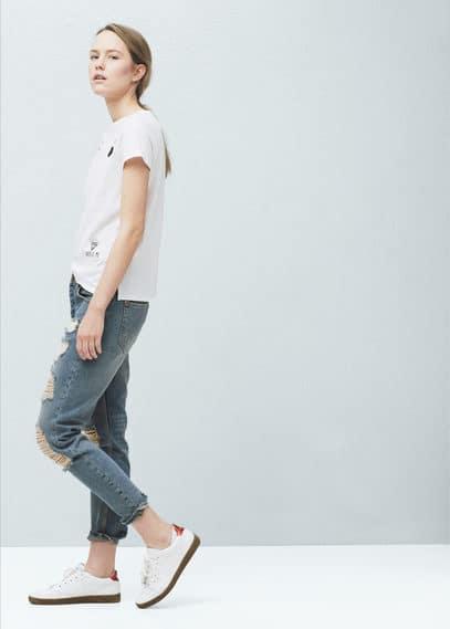 Camiseta estampada abalorios | MANGO
