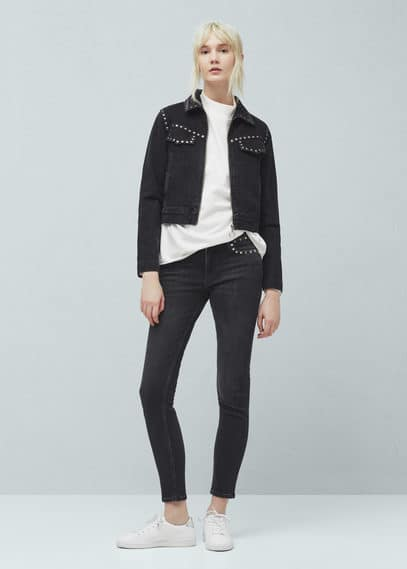 Studs slim-fit jeans | VIOLETA BY MANGO