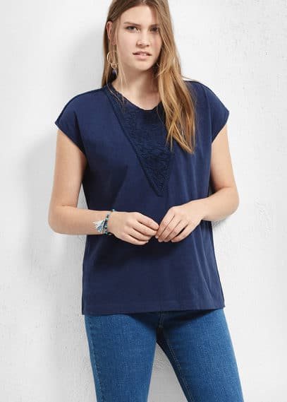 Baumwoll-t-shirt mit stickerei | VIOLETA BY MANGO