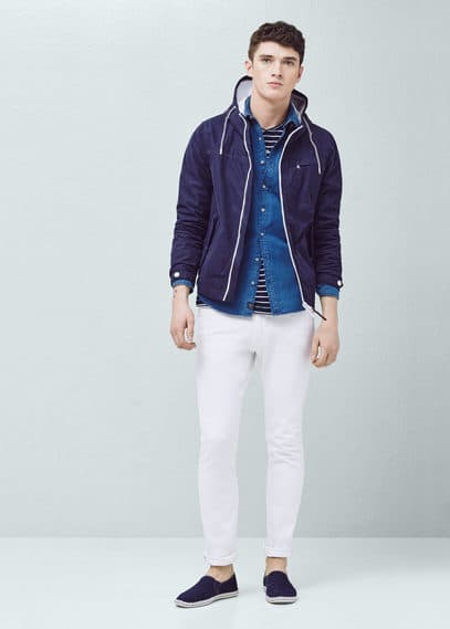 Cotton-blend hooded jacket | MANGO MAN
