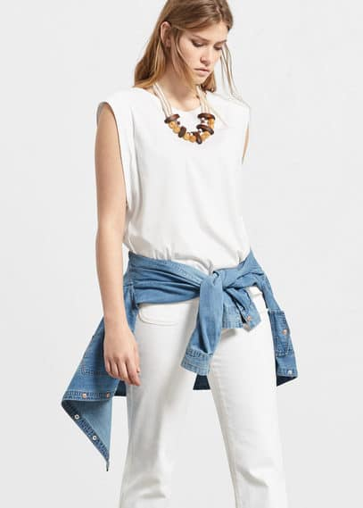 Strap cotton t-shirt | VIOLETA BY MANGO