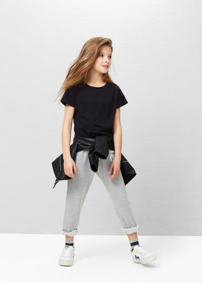 Message cotton-blend t-shirt | MANGO KIDS