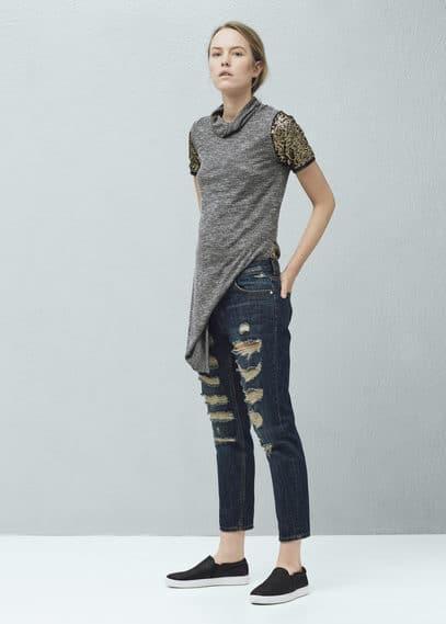 Kratší džíny nancy stylu relaxed | MANGO