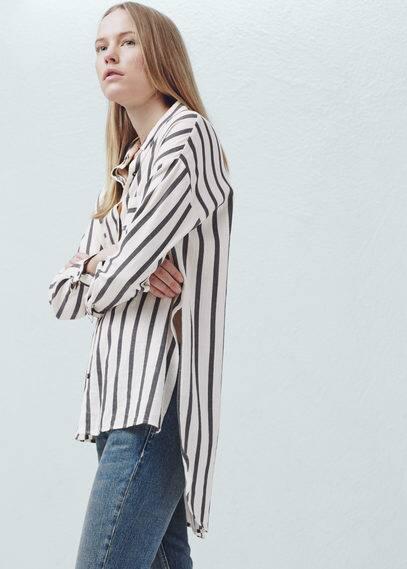 Camisa algodão riscas | MANGO