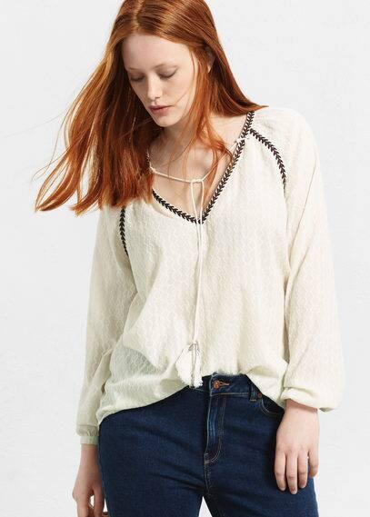 Blusa algodón bordado | VIOLETA BY MANGO
