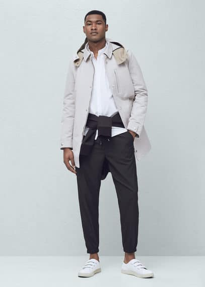 Detachable hood trench coat | MANGO MAN