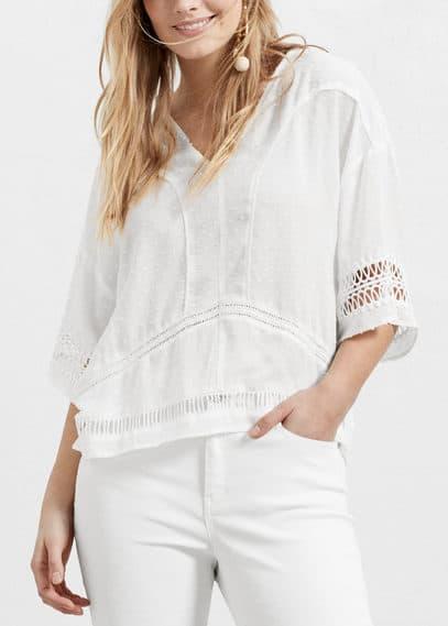 Openwork plumeti blouse | VIOLETA BY MANGO