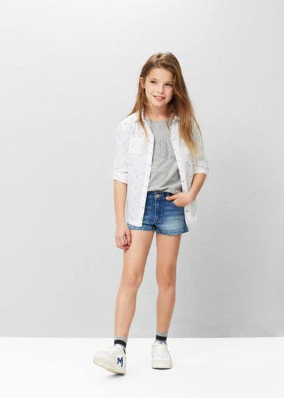 Contrast cotton-blend shirt | MANGO KIDS