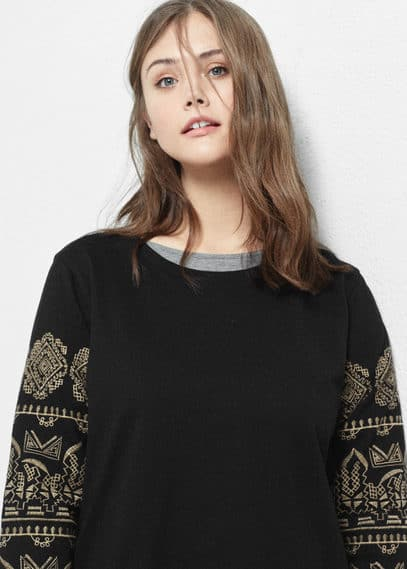 Embroidered cotton sweatshirt | VIOLETA BY MANGO