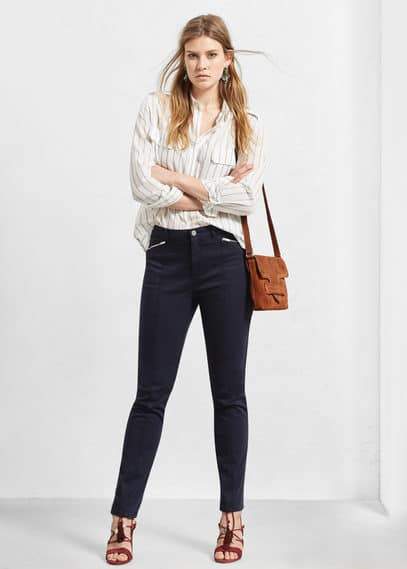 Zipped straight trousers | VIOLETA BY MANGO