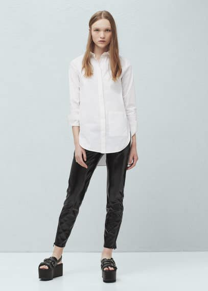 Zipped vinyl trousers | MANGO