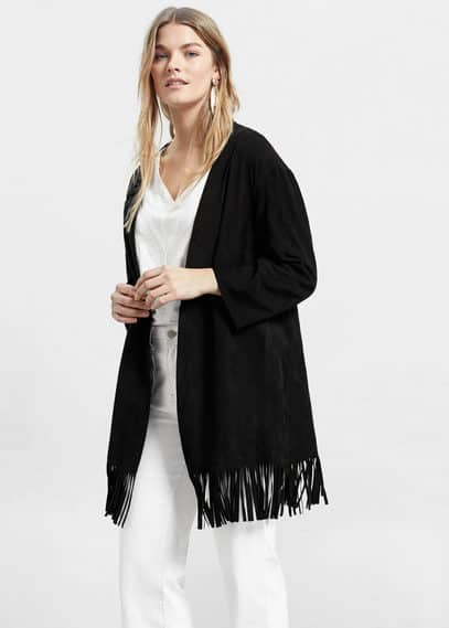 Fringed suede jacket | VIOLETA BY MANGO