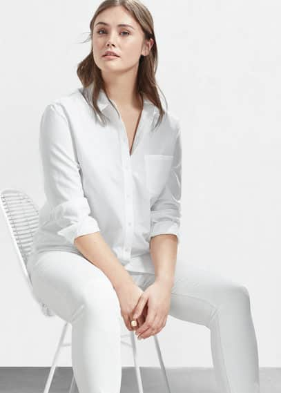 Chest-pocket cotton shirt | VIOLETA BY MANGO